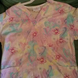 Pink scrub shirt